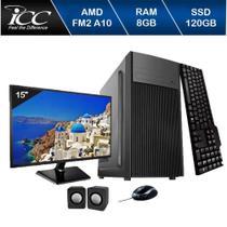 Computador Icc  Amd Fm2 A10 8gb de Ram Ssd 120 Gb Kit Multimídia Monitor 15 -