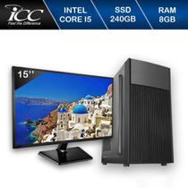 Computador ICC Core I5 3.20ghz 8GB HD 240GB SSD Kit Multimídia Monitor LED HDMI FULLHD -