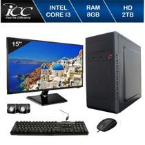 Computador ICC Intel Core I3 3.20 ghz 8GB HD 2TB Kit Multimídia HDMI FULLHD Monitor LED Windows 10 -