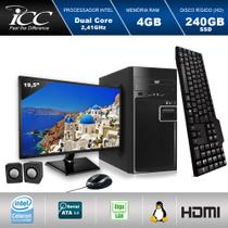 Computador ICC IV1847CM19 Intel Dual Core 2.41ghz 4GB HD 240GB SSD DVDRW Kit Multimídia Monitor LED 19,5