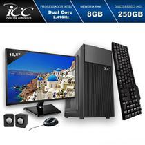 Computador ICC IV1880K2M19 Intel Dual Core  8GB HD 250GB kit mult Mon.19,5 -