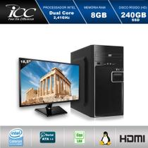 Computador ICC IV1887DM18 Intel Dual Core 2.41ghz 8GB HD 240GB SSD DVDRW USB 3.0 HDMI FULL HD Monitor LED 18,5