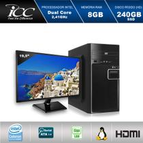 Computador ICC IV1887DM19 Intel Dual Core 2.41ghz 8GB HD 240GB SSD DVDRW USB 3.0 HDMI FULL HD Monitor LED 19,5
