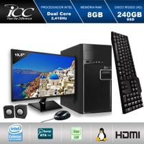 Computador ICC IV1887KM19 Intel Dual Core 2.41ghz 8GB HD 240GB SSD Kit Multimídia Monitor LED 19,5