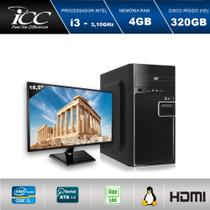 "ComputadoR ICC IV2340D3M18 Intel Core I3 3.20 ghz 4GB HD 320GB DVDRW  HDMI FULL HD Monitor LED 18,5"" -"