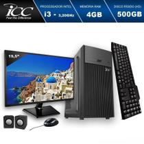 Computador ICC IV2341CM19 Intel Core I3 3.20 ghz 4GB HD 500GB DVDRW Kit Multimídia Monitor LED 195 -