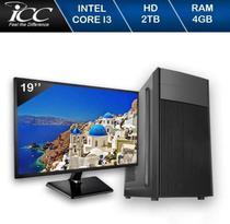 Computador ICC IV2343KWM19 Intel Core I3 3.20 ghz 4GB HD 2TB Kit Multimídia Monitor LED 19,5 Win10 -