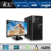 Computador ICC IV2347DM18 Intel Core I3 3.20 ghz 4GB HD 240GB SSD DVDRW  HDMI FULL HD Monitor LED 18,5