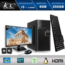 "Computador ICC IV2380K2M18 Intel Core I3 3.20 ghz 8GB HD 250GB Kit Multimídia Monitor LED 18,5"" HDMI FULLHD -"