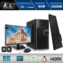 "Computador ICC IV2380K3M18 Intel Core I3 3.20 ghz 8GB HD 320GB Kit Multimídia Monitor LED 18,5"" HDMI FULLHD -"