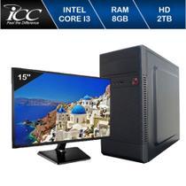 Computador ICC IV2383SWM15 Intel Core I3 3.20Ghz 8GB HD 2TB HDMI FULL HD Monitor LED Windows 10 -