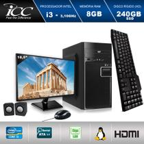Computador ICC IV2387CM18 Intel Core I3 3.20 ghz 8GB HD 240GB SSD DVDRW Kit Multimídia Monitor LED 18,5