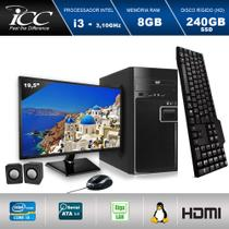 Computador ICC IV2387CM19 Intel Core I3 3.20 ghz 8GB HD 240GB SSD DVDRW Kit Multimídia Monitor LED 19,5