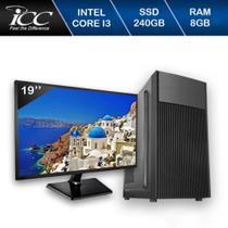 Computador ICC IV2387CWM19 Core I3 3.20ghz 8GB HD 240GB SSD DVDW Kit Multimídia Monitor 19,5 Win10 -