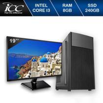Computador ICC IV2387KM19 Intel Core I3 3.20 ghz 8GB HD 240GB SSD Kit Multimídia Monitor LED 195 -
