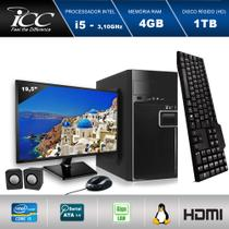 "Computador ICC IV2542KM19 Intel Core I5 3.20 ghz 4GB HD 1TB Kit Multimídia Monitor LED 19,5"" HDMI FULLHD -"