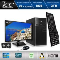 Computador ICC IV2583CM19 Intel Core I5 3.20 ghz 8GB HD 2TB DVDRW Kit Multimídia Monitor LED 19,5