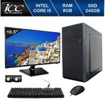 Computador ICC IV2587CWM19 Core I5 3.20 ghz 8GB 240GB SSD DVDW Kit Multimídia Monitor 9,5 Win10 -