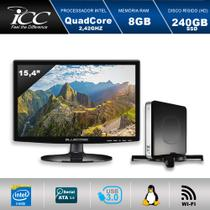 Computador ICC Nano PC NP1987SM15 Intel Quadcore J1900 2,42Ghz, Wifi, 8GB, HD 240GB SSD, HDMI, USB 3.0 Monitor 15,4 -