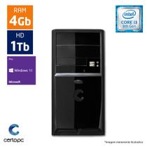 Computador Intel Core I3 8ª Geração 4GB HD 1TB Windows 10 PRO Certo PC Smart 1009