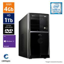Computador Intel Core I3 8ª Geração 4GB HD 1TB Windows 10 PRO DVD Certo PC Smart 1012