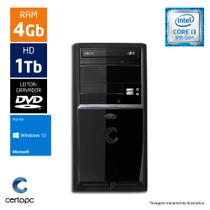 Computador Intel Core I3 8ª Geração 4GB HD 1TB Windows 10 SL DVD Certo PC Smart 1011