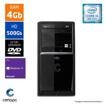 Computador Intel Core I3 8ª Geração 4GB HD 500GB DVD Windows 10 PRO Certo PC Smart 1006