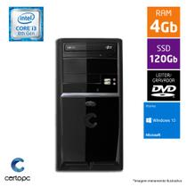 Computador Intel Core I3 8ª Geração 4GB SSD 120GB DVD Windows 10 SL Certo PC Smart 1023