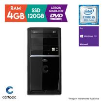 Computador Intel Core i5 8ª Geração 4GB SSD 120GB DVD Windows 10 PRO Certo PC Select 1018