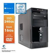 Computador Intel Core i7 8700 3.2GHz 16GB SSD 240GB DVD Windows 10 SL Certo PC Desempenho 1041