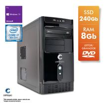 Computador Intel Core i7 8700 3.2GHz 8GB SSD 240GB DVD Windows 10 PRO Certo PC Desempenho 1045