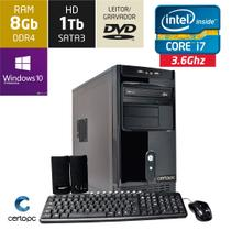 Computador Intel Core i7 8GB HD 1TB DVD com Windows 10 PRO Certo PC Desempenho 912