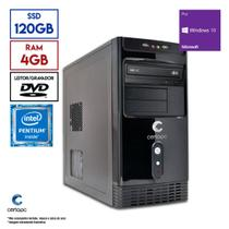 Computador Intel Pentium Dual Core G5400 3.7GHz 4GB SSD 120GB DVD Windows 10 PRO Certo PC Mid 1027