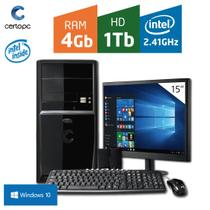 Computador + Monitor 15 Intel Dual Core 2.41GHz 4GB HD 1TB Windows 10 Certo PC FIT 039