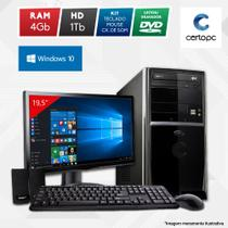 "Computador + Monitor 19"" Intel Dual Core 2.41GHz 4GB HD 1TB Windows 10 SL Certo PC Fit 1048"