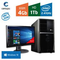 Computador + Monitor 19,5 Intel Dual Core 2.41GHz 4GB HD 1TB com Windows 10 Certo PC FIT 045