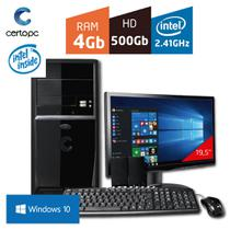 Computador + Monitor 19,5 Intel Dual Core 2.41GHz 4GB HD 500GB com Windows 10 Certo PC FIT 023
