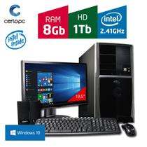 Computador + Monitor 19,5 Intel Dual Core 2.41GHz 8GB HD 1TB com Windows 10 Certo PC FIT 095