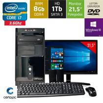 Computador + Monitor 21,5 Intel Core i7 8GB HD 1TB DVD com Windows 10 PRO Certo PC Desempenho 948