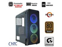 Computador ntc gamer amd ryzen 5 3400g, 16gb, ssd 480gb,  500w, gigabyte a320m-s2h, vulcano ii - 715 -