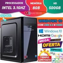 Computador Pc Cpu Intel 3.1GHz Com Hdmi 8GB HD 500GB Windows 10 Usb 3.0 Desktop - Mali Brasil