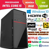 Computador Pc Cpu Intel Core i5 Com Hdmi Dvd 8GB SSD 120GB Windows 10 Wifi Desktop - Enkor