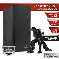 Computador Positivo Station i3 81TBg Core i3 8GB 1TB GeForce GT X750 Windows 10 Home - Preto -