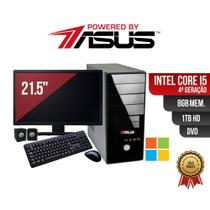 Computador Powered By Asus Core i5 4º Ger 8Gb 1Tb Dvd e Cd Win Mon Led 21 Kit Tec Mou e Cx Som - Powered by asys