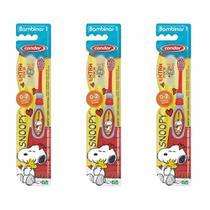 Condor Snoopy Escova Dental C/ Protetor 0a2 Anos (Kit C/03) -