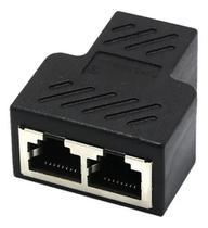 Conector Extensor Duplicador Rj45 Splitter Plug T Preto - Master