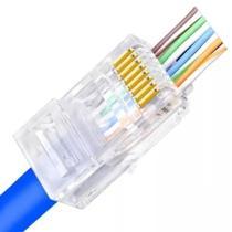 Conector para cabo de rede ez-rj45 vazado cat5e ez crimp pacote com 100un exbom cont-rj45c100 -