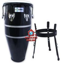 Conga Slim 11,5 pol Preta Luen 42046PT Tumbadora c/ suporte tripé -