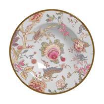 Conj 6 pratos fundos de cerâmica, china flowers, alleanza -