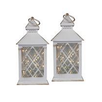 Conj. C/ 2 Lanternas Marroquinas Decorativas LED Brancas 27cm Verito -